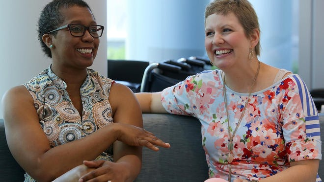 Ottillia Plunk, left, and Bethany Herr meet June 14 with The Jackson Sun at the Kirkland Cancer Center. Find a video of these survivors on our website: jacksonsun.com