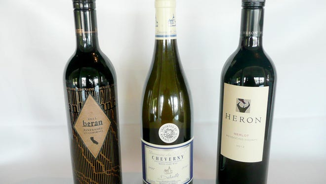 Among great wines for less that $30 a bottle are 2013 Beren Zinfandel California ($20-25), 2014 Cheverny Domaine du Salvard Loire Valley France ($20-26) and 2013 Heron Merlot, California ($18).