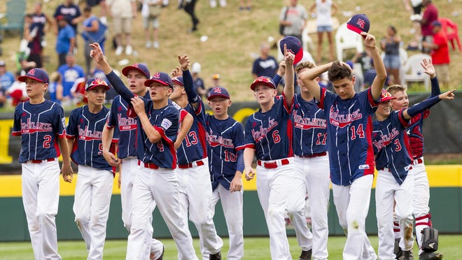 Maine-Endwell celebrates its 2-1 win over East Seoul for Little League World Series Championship in South Williamsport.