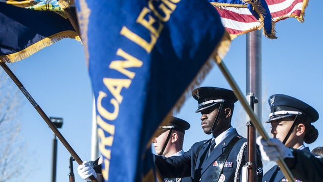 The Malmstrom Air Force Base Honor Guard presents the colors during the Veterans Day Ceremony at the Montana Veterans Memorial on Friday.