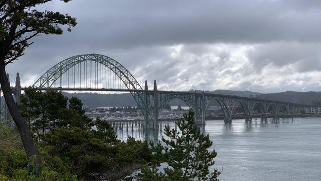 A view of the Yaquina Bay Bridge in Newport from the lighthouse grounds. Newport, Waldport and Lincoln City were among the Oregon central coast towns closed to visitors in March due to the fear of spreading COVID-19.