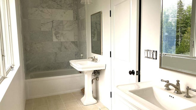 These two pedestal sinks look great, but they might not be the most practical design choice. Where will you store the hair dryer?