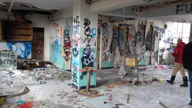 The inside of the abandoned former Homestead Nursing home off Route 1 in Kittery, Maine. The building was removed and the site cleaned up with assistance from EPA Brownfields funding.