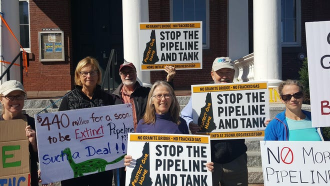 Supporters of 350NH rally in Exeter against the proposed Granite Bridge pipeline that would have run from Manchester to Exeter along Route 101.