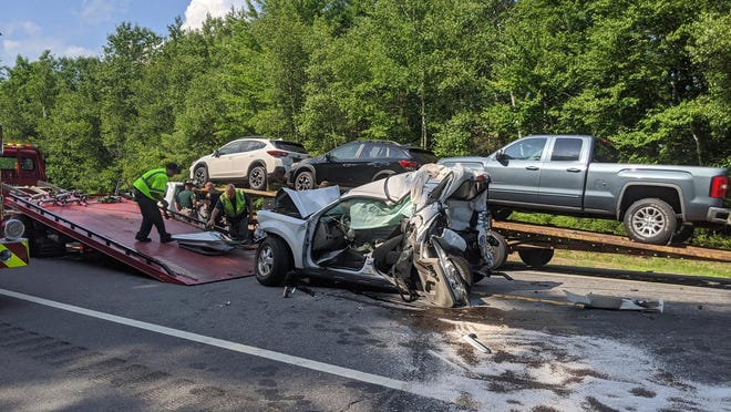 A four-car crash on the Spaulding Turnpike Thursday sent two to the hospital.