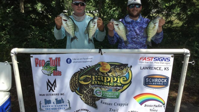 From left, Eric and Mike Schrock, of Lawrence, took home the top prize last weekend at the Kansas Crappie Trail fishing tournament on Pomona Reservoir. With the win, the pair sit just five points behind season points leaders Tony Niemeyer and Ryan German in the standings.