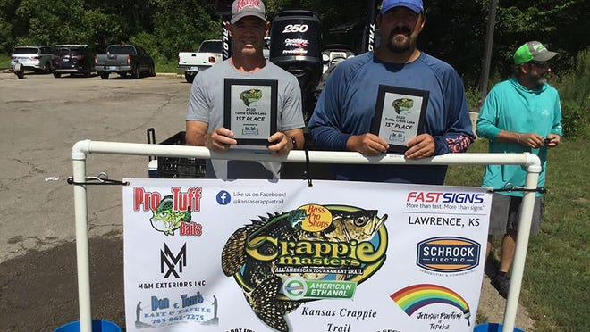 From left, Tony Niemeyer and Ryan German finished first during the Kansas Crappie Trail makeup tournament on Clinton Reservoir last weekend. The KCT returns to Clinton this weekend for its final regular-season tournament of the year before the state championship in September.