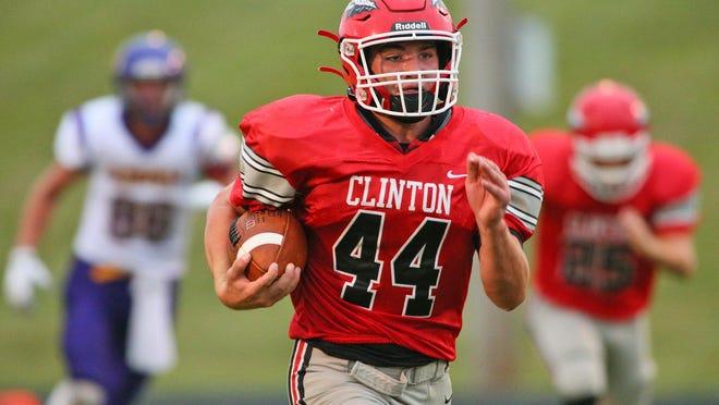 Clinton's Brayden Randolph runs with the ball during a game in 2019.
