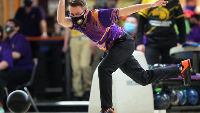 Onsted's Darrin Fletcher bowls during Saturday's Lenawee County Athletic Association Jamboree at Ten Pin Alley in Tecumseh.