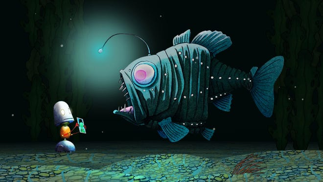 "Beloved children's author David Wiesner releases his first book app, offering a unique navigation system of zooming in on a ""Spot"" to be transported to one of five fantastical worlds, including this one under the sea."