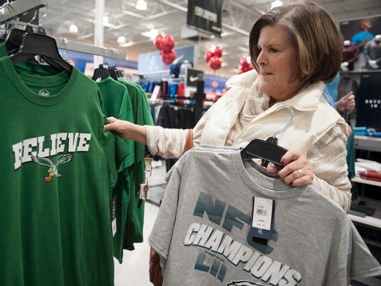 Deborah Ross of Marlton shops for Eagles gear, for