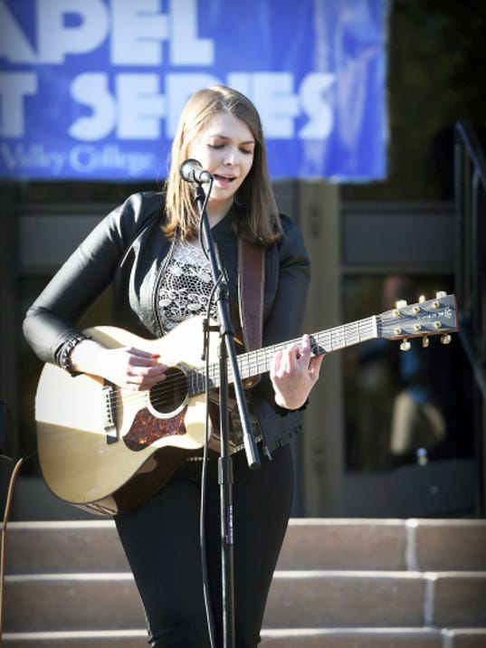 Lebanon Valley College senior Cristabelle Braden performs at a the Lebanon Valley College Chapel Concert Series Sunday, April 26, outside of the Chapel on the Academic Quad. Michael K. Dakota - Lebanon Daily News