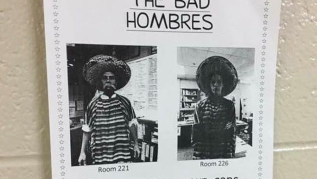 """An anti-Mexican flier appeared after the Nov. 8 election in Rochester Adams High School, with racist stereotypes and referring to building a wall and """"bad hombres."""""""