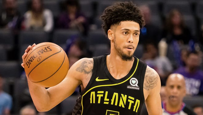 Hawks guard Tyler Dorsey in action against the Kings in March.