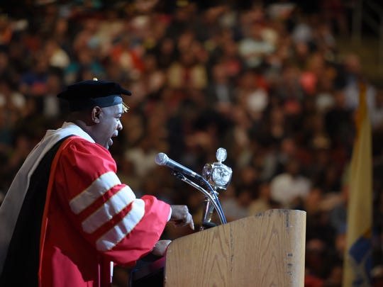 Newark Mayor Ras J. Baraka addresses the graduates during the Montclair State University Commencement Ceremony at the Prudential Center in Newark on May 25th, 2017.