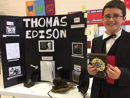 Eli Neitz won second place as Thomas Edison.