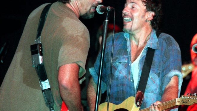 Bruce Springsteen and Joe Grushecky (left) at the Tradewinds Night Club, Sea Bright in July 1995. Eight months earlier The Boss joined Holiday Express for a three-song set at the same club.