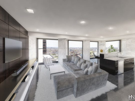 A rendering of a sample apartment at Chase Tower.
