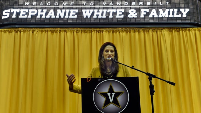 New Vanderbilt women's basketball coach Stephanie White is presented by the university at Memorial Gymnasium on Wednesday.