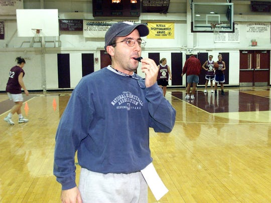 Central Regional girls basketball coach John Truhan. shown coaching Toms River South in December, 2001, recorded win No. 300 Tuesday night.