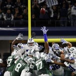 Jets kicker Randy Bullock kicks the go-ahead field goal during the fourth quarter against the Dallas Cowboys at AT&T Stadium Saturday night. The Jets won 19-16.
