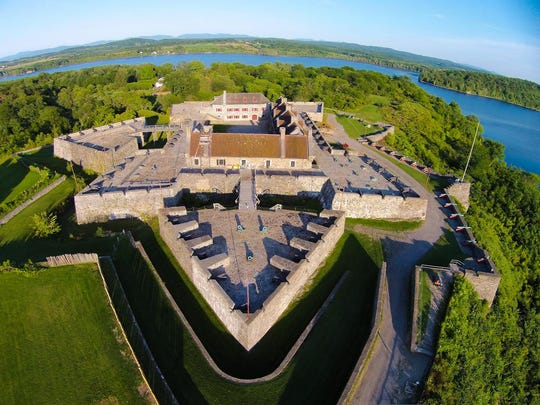 Fort Ticonderoga, a large 18th-century star fort built by the French at a narrows near the south end of Lake Champlain, changed hands several times during the American Revolution.