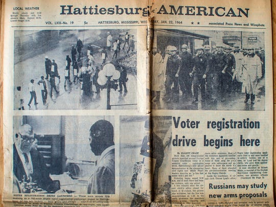 One of Warner White's press clippings from Civil Rights marches: the Hattiesburg American on Jan. 22, 1964.