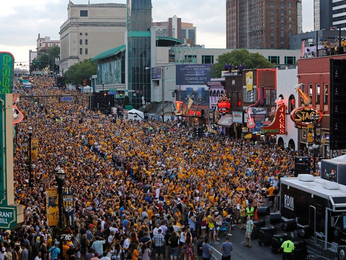 Predators Fans Crowd Downtown Nashville For Stanley Cup Game 6