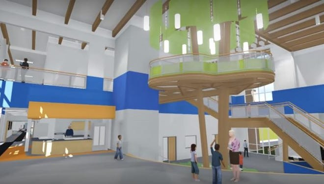 """The Charles City Middle School that will open this fall includes an indoor """"tree house"""" in the commons where students can collaborate on projects."""