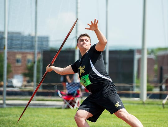Delone Catholic's Seth Leonard throws in the boys'