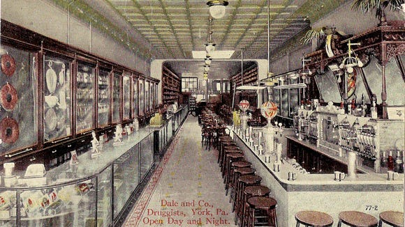 Betsy Baird, a longtime Only in York County reader who has since passed away, shared in 2012 or 2013 this postcard featuring the interior of the Dale & Co. drugstore in York.