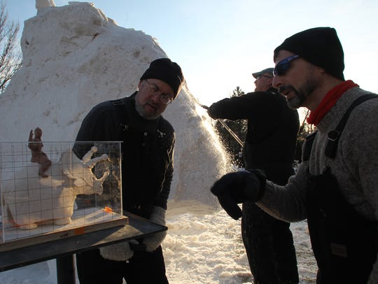 Team USA Snow Sculptors, from left, Michael Sponholtz,