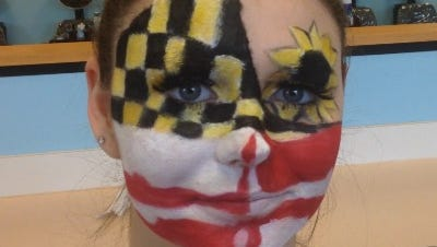A student model displays a makeup creation by G'Nea Briddell, a Parkside High School student who placed third in the Cosmetology: Makeup category at the 32nd SkillsUSA Local Championships at Parkside High School in Salisbury. Students competed in either of 14 categories  and are members of the Career, Technology Education program for Wicomico County public schools..