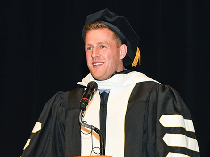 Houston Texans star defensive end JJ Watt gives a speech