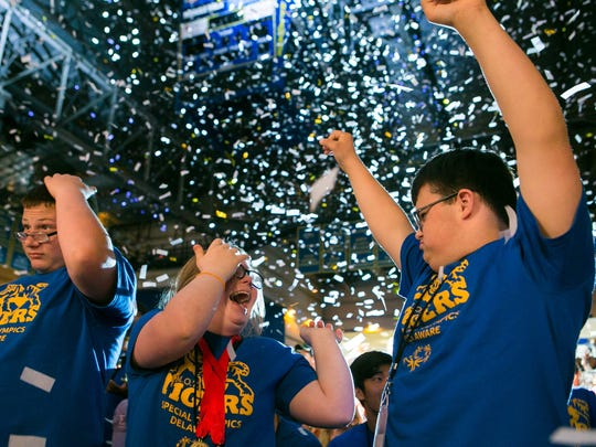 Athletes cheer as they proclaim the opening of the games at the opening ceremony of the 2018 Special Olympics Delaware at the Bob Carpenter Center in Newark.