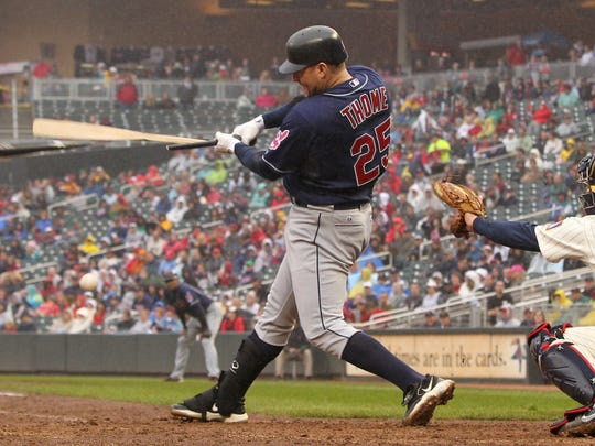 Cleveland Indians designated hitter Jim Thome hits an RBI single to take the lead 4-3 against Minnesota Twins during the seventh inning of a baseball game, Sunday, Sept. 18, 2011, in Minneapolis. The Indians defeated the Twins 6-5. (AP Photo/Genevieve Ross)