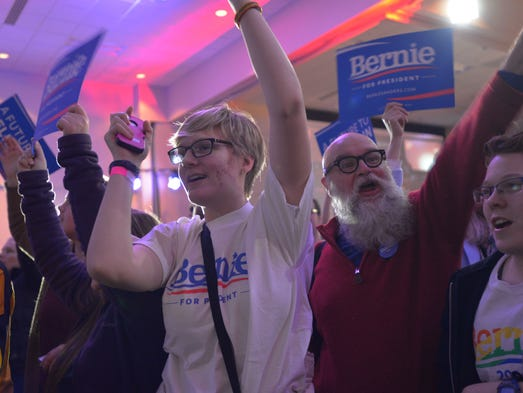 Supporters of Sen. Bernie Sanders, I-Vt., chant while