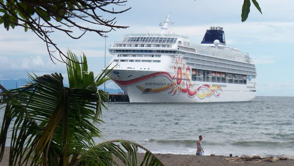 In this Oct. 19, 2014 file photo, the cruise ship Norwegian