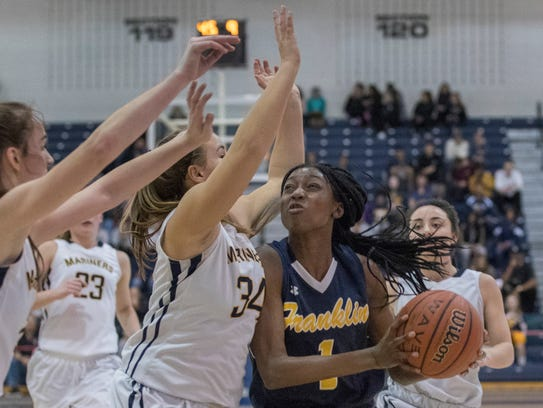 Franklin's Diamond Miller tries to work in against