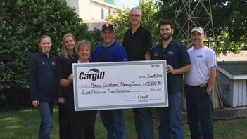 Meals on Wheels of Chemung County recently accepted a grant from Cargill Inc. Pictured are Alex Lodge, Kara Bugis, Darlene Ike, David Nixon, Keith Klug, Phil Pamel, and Jerry Dunlavey.