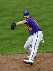 William and MaryClemson freshman Spencer Strider(29)pitches against William and Mary during the top of the fifth inning on Saturday at Doug Kingsmore Stadium in Clemson.