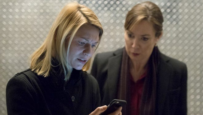 """Claire Danes, left, in a scene from """"Homeland."""""""