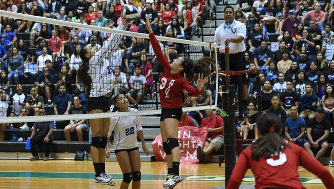 The Notre Dame Lady Royals met the St. John's Knights for the Independent Interscholastic Athletic Association of Guam Girls Volleyball Championship game at the University of Guam Calvo Field House on Oct. 20, 2017.