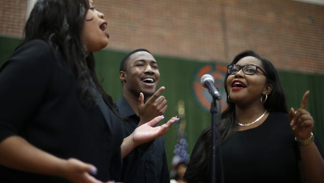 Members of the FAMU Connection cover a Bruno Mars song during FAMU's Founder's Day Observance at Gaither Hall on Thursday.