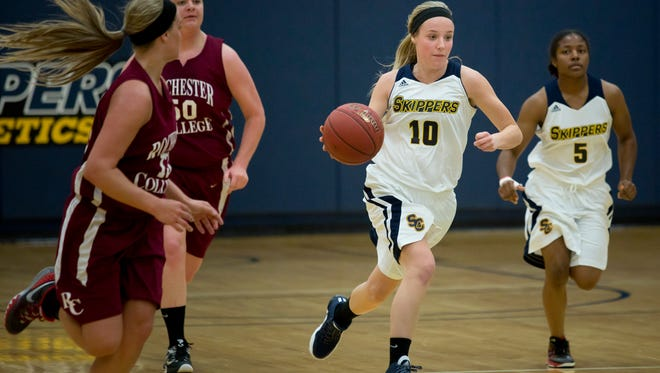 Skippers sophomore guard Madison Valko breaks away down court with the ball during a game against Rochester College Wednesday, Dec. 9, 2015 at the SC4 gymnasium.