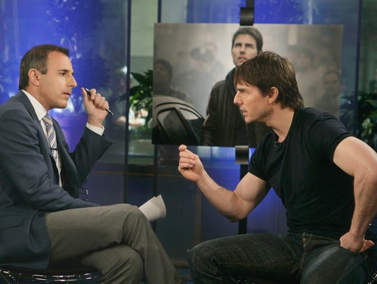 Tom Cruise speaks with Matt Lauer during a telecast