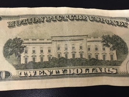 "Back of fake $20 bill clearly stating ""Motion Picture"