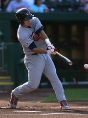 Arkansas Travelers lead off hitter Mike Trout hits