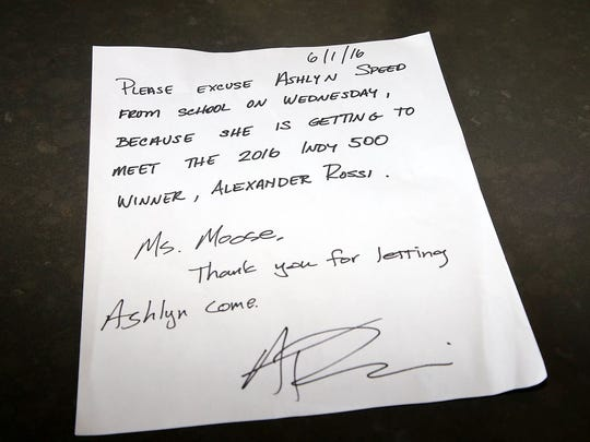 Indy 500 champion Alexander Rossi wrote a note to excuse a Texas student from school.