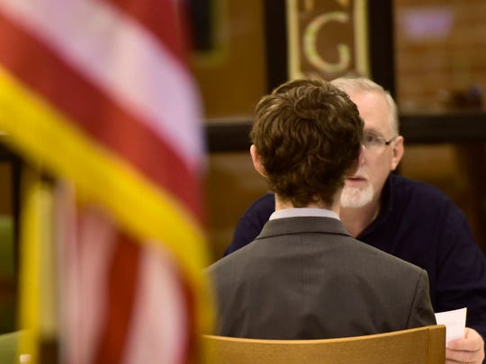 Tim Lachemann, of D.L. Martin, interviews James Buchanan High School student Austin Lehman during mock job interviews at the school Friday, Jan. 8, 2016.